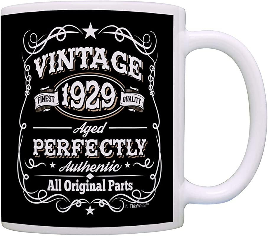 90th Birthday Mug Vintage 1929 All Original Parts Birthday Coffee Cup Gift Coffee Mug Tea Cup Black