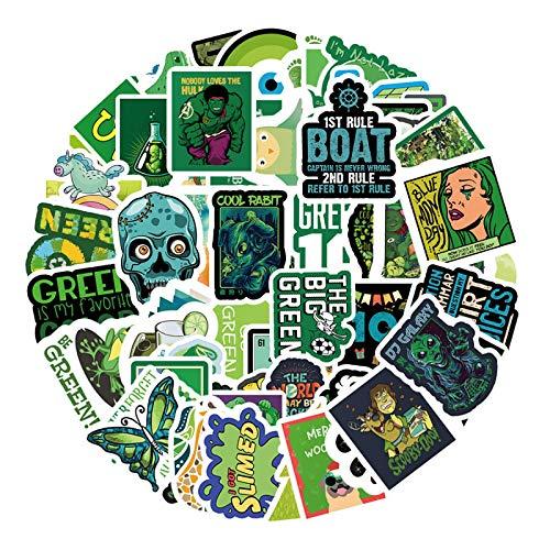 WYZNB No repita verdes pequeñas pegatinas de graffiti frescas, scooter guitarra maleta piano pegatinas impermeables 67pcs