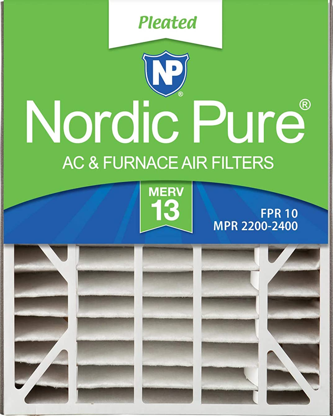 Nordic Pure 20x25x5 (4-7/8 Actual Depth) MERV 13 Trion Air Bear Replacement Pleated AC Furnace Air Filter, Box of 2