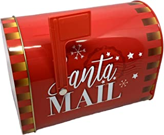 ALEF Christmas/Holiday Letters to Santa Decorative Small Tin Mailbox (Red with Gold Star)