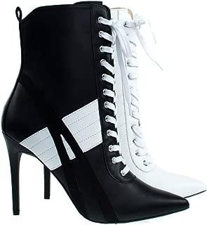 Women's Pointed Toe Sporty Stripe Lace-Up Stiletto Heel Ankle Bootie