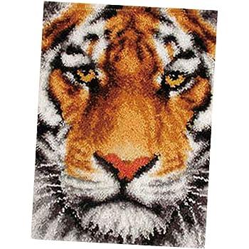 Lion Latch Hook Kits Rug Pillow Cover Making Yarn Crochet Floor Mat DIY Kit