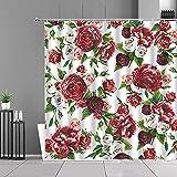 XCBN Cortina de Ducha Gris con Flores Rosas, Cortinas de Tela con Estampado de Plantas Florales de Primavera, decoración de baño para el hogar, Cortina de Ducha Impermeable A8 180x180cm