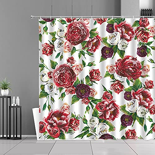 XCBN Rose Flowers Grey Duschvorhang Spring Floral Plants Print Stoffvorhänge Home Badezimmer Dekor Wasserdichter Duschvorhang A8 90x180cm