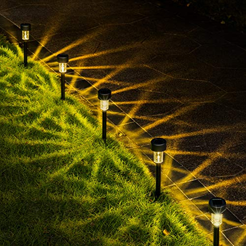 GIGALUMI Solar Pathway Lights Outdoor 12 Pack, Bright Solar Powered Garden Lights, Waterproof Solar Landscape Lights Outdoor for Pathway, Lawn, Yard, Patio, Path, Walkway Decoration (Warm White) …