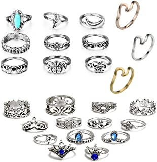 ANGELANGELA Antique Silver 25Pc/Set Horse Mermaid Lotus Stacking Rings, Vintage Joint Above Knuckle Nail Midi Band Statement Stackable Cuff Toe Finger Ring Set