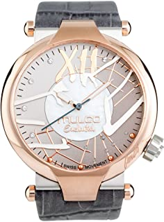 Mulco Enchanted Spider Quartz Slim Analog Swiss Movement Unisex Watch   Special Metal Insert Design Sundial Display with Rose Gold Accents   Leather Watch Band   Water Resistant