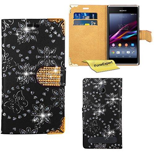 Sony Xperia E1 Hülle, FoneExpert® Bling Luxus Diamant Hülle Wallet Case Cover Hüllen Etui Ledertasche Premium Lederhülle Schutzhülle für Sony Xperia E1 + Bildschirmschutzfolie (Schwarz)