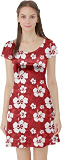 CowCow Womens Hibiscus Hawaii Flowers Floral Summer Tropic Tropical Leafs Plumeria Short Sleeve Dress, XS-5XL