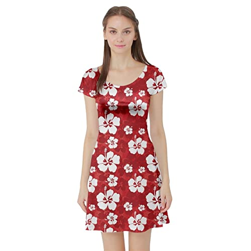d2cc6674af0 CowCow Womens Hibiscus Hawaii Flowers Floral Summer Tropic Tropical Leafs  Plumeria Short Sleeve Dress