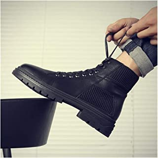 Sunny&Baby Ankle Boots for Men Work Boot Lace up Microfiber Leather Low Heel Round Toe Anti-Skid Patchwork Side Zipper Socks Collar Elastic Durable (Color : Black, Size : 6.5 UK)