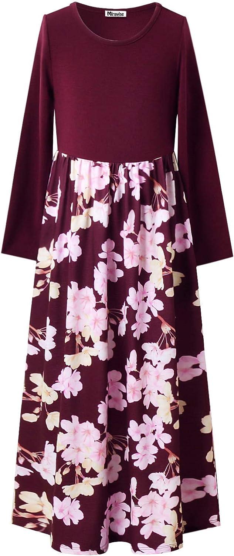 Mirawise Girls Maxi Dress Floral Casual Long Maxi Dress with Pockets Long/Short Sleeve/Sleeveless