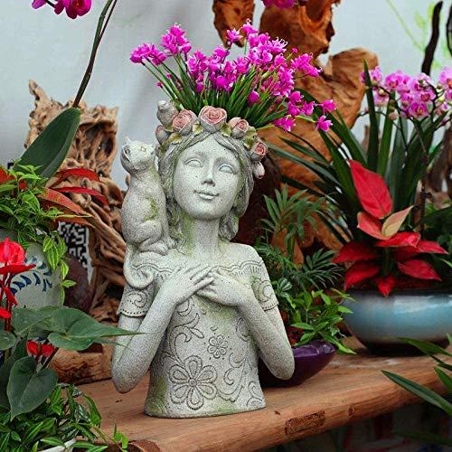 Rishx Accueil Jardin Art Pot à Fleurs Pot Vase décor Nordique tête Pot de Fleurs en résine Succulent Plant Pot Container Flower Shop Café Salon Décoration (Taille : Girl)