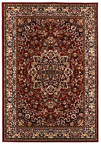 Carpeto Rugs Tapis de Salon Classique au Design Oriental - Poils Courts Rouge 240 x 340 cm