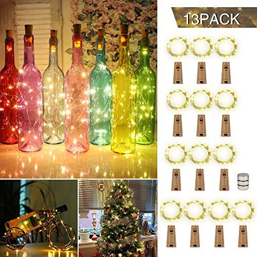 LED Flaschenlicht,13 Stück 2M 20 LEDs Lichterkette Warmweiß, Weinflasche Lichter LED Lichterketten, Batteriebetriebene Lichter für Flasche DIY, Party, Weihnachten, Hochzeit, Geburtstag Deko