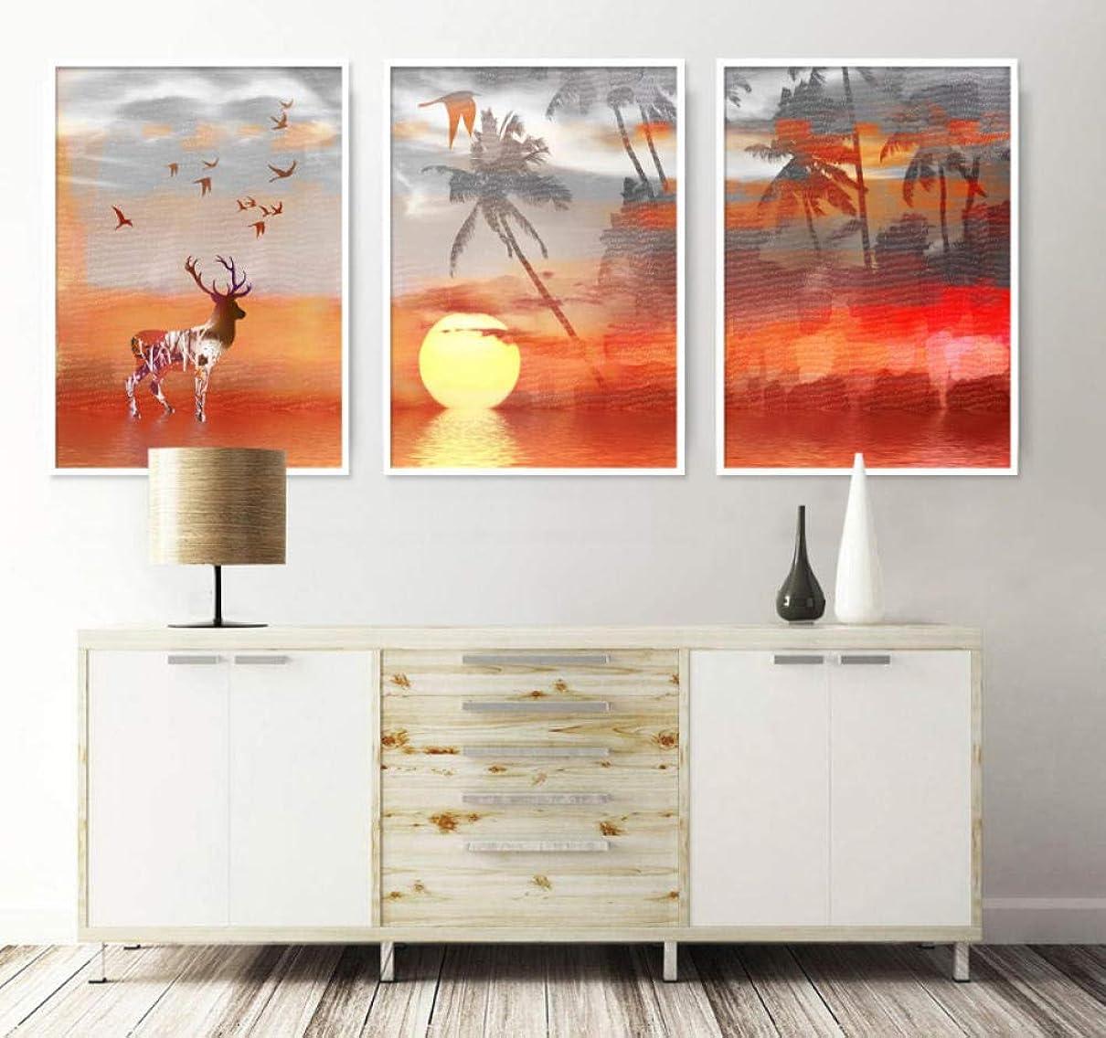 ゆるい正直例抽象的な気分日没エルク森反射トリプル装飾絵画インテリアスプレー絵画インテリアキャンバスの壁の写真/フレームなし40x60cmx3pcs