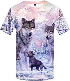 Unisex Wolf Shirts for Men with Moon Animal Tshirts 3D Printed Graphics Tee