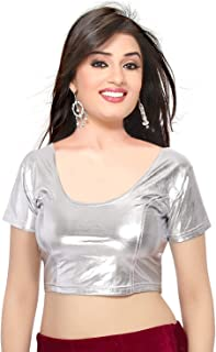 CRAZYBACHAT Crazy Bachat Indian Ethnic Design Stretchable Cotton Lycra Blouses Beige Tops Readymade Saree Blouses