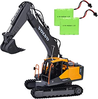 Volvo RC Excavator 17 Channel RC Truck with 2 Rechargeable Batteries Full Functional Remote Control Excavator Construction Tractor