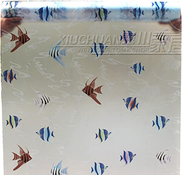 2017snow 24 X79 Frosted Privacy Glass Film Static With Glue Cling Window Film Colorful Fish Frosted Stained Glass Stickers