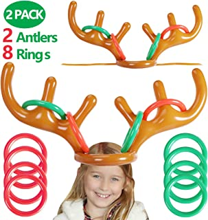Max Fun Christmas Party Game Antler Ring Toss Game Inflatable Reindeer Antler Ring Toss Game for Christmas Party