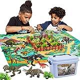 BUYGER 58 Pcs Dinosaurio Juguetes con Tapete de Juego y Arboles, Tyrannosaurus Rex, Spinosaurus, Juego de Dinosaurios Regalos para Niños Niña 3 4 5 Años