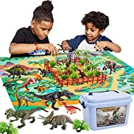 BUYGER 58 Pieces Dinosaur Figures Toy for Boy with Activity Play Mat, Realistic Dinosaur Gift, Educa...