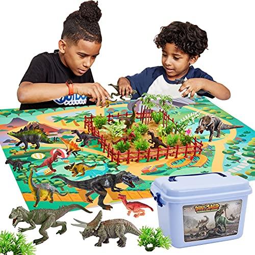 BUYGER 58 pcs Dinosaure Jouet avec Tapis de Jeu, Ensemble de Figurine Dinosaures Animaux Réaliste - Cadeau Éducatif pour Enfant