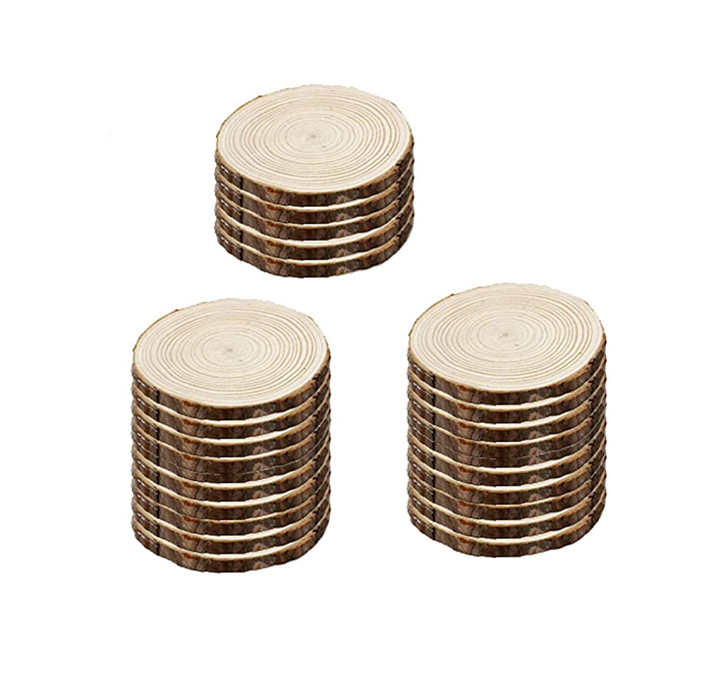 Richohome 25 Pack Unfinished Natural Wood Slices Circles with Tree Bark Log Discs for DIY Crafts Christmas Rustic 2.4-2.8 Inch