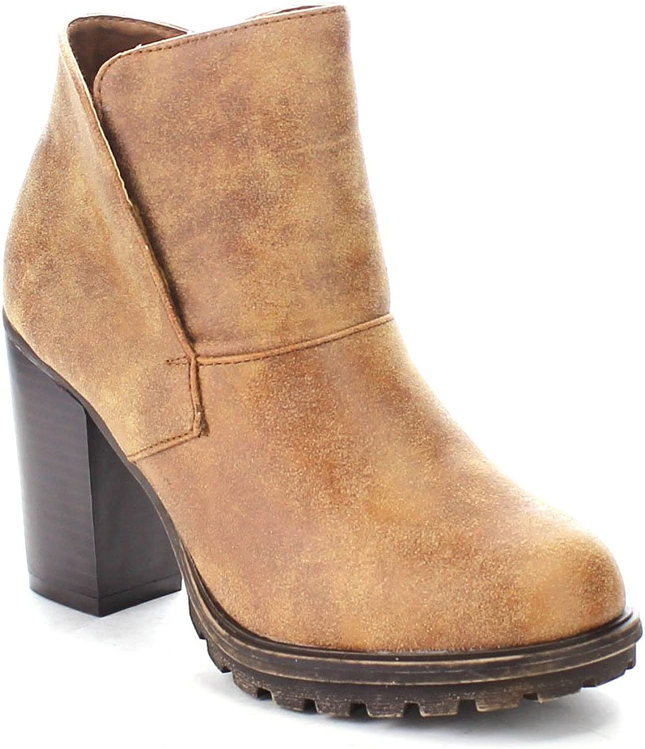 Bamboo Tracker-03 Women's Slip On Chunky Heel Lug Sole Ankle Booties