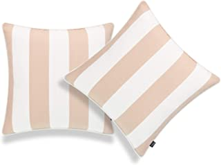 "Hofdeco Patio Indoor Outdoor Throw Pillow Cover ONLY, for Backyard, Couch, Sofa, Tan Sand Stripes, 18""x18"", Set of 2"