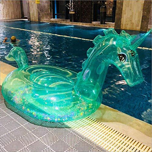 T Inflatable Pool Float Pool Riesen Einhorn-Schwimmen-Ring Wasser Raft Spielzeug Pool Supplies Wasser Berg Schwebebett/mat Grün-255 * 115 * 108cm ZHNGHENG (Color : Green, Size : 255 * 115 * 108cm)