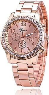 Han Shi Crystals Watch, Fashion Ladies Women Girls Faux Chronograph Quartz Classic Round Clock (A, Coffee)