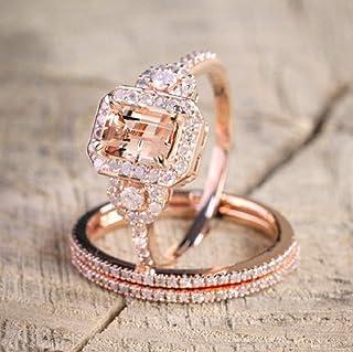 Zhiwen Sparkling Women Fashion Gorgeous 18K Rose Gold Filled Morganite Ring Engagement Bridal Women Jewelry Set Size 6-10...