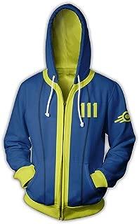 Vault 111 Hoodie Cosplay Zip Up Hooded Jacket Sweatshirt Halloween Costume Coat