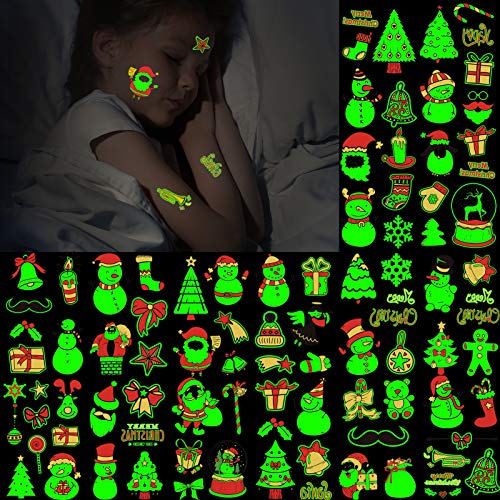 Konsait 16 Sheets Christmas Glow in The Dark Temporary Tattoos, Xmas Luminous Tattoo Stickers for Kids Adults, Cute Snowflake Temporary Tattoo Kit for Holiday Birthday Party Favors, Christmas Eve
