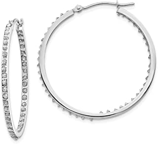 14k White Gold Diamond Fascination Round Hinged Hoop Earrings Ear Hoops Set Fine Jewelry Gifts For Women For Her