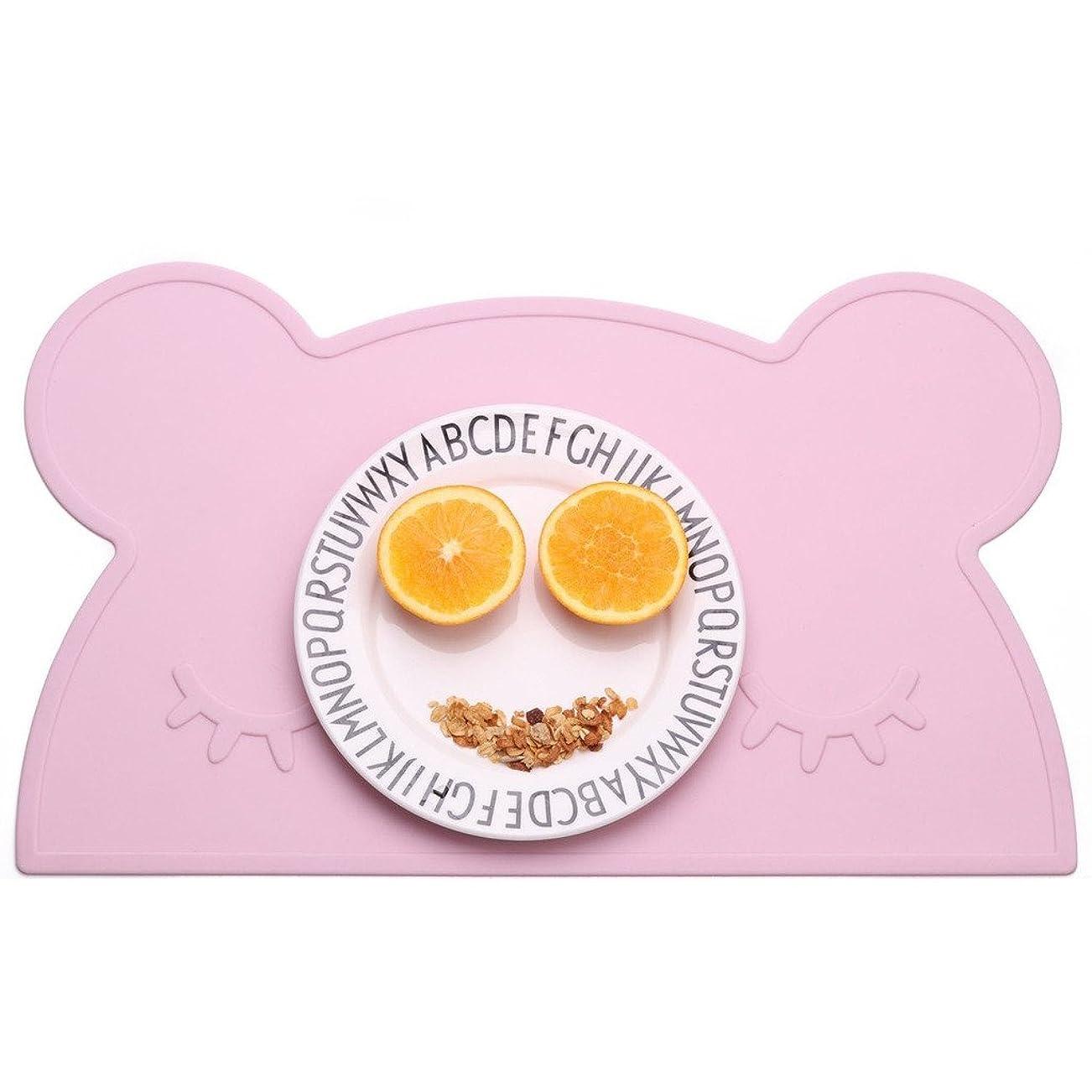 管理ジムタンパク質hibote キッズ ランチョンマット 子供用 シリコン 可愛い 熊 ベビー テーブルマット 食事マット 撥水 丸洗い 耐熱 滑り止め ピンク
