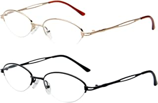 2-Pack Metal Reading Glasses for Women Man Classic Fashion Semi Rimless Readers Gold and Black 2.25 Magnification