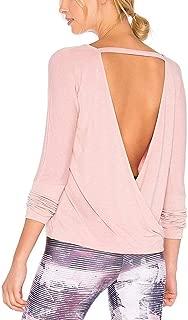 Mippo Women's Open Back Workout Shirt Long Sleeve Deep V Cut Out Back Cross Wrap Top