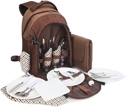 Brubaker Picknickrucksack für 4 Personen Braun 28,5 × 19 × 42,5 cm - mit Kühlfach und wasserfester Picknickdecke B07CJH19CZ | Preiszugeständnisse