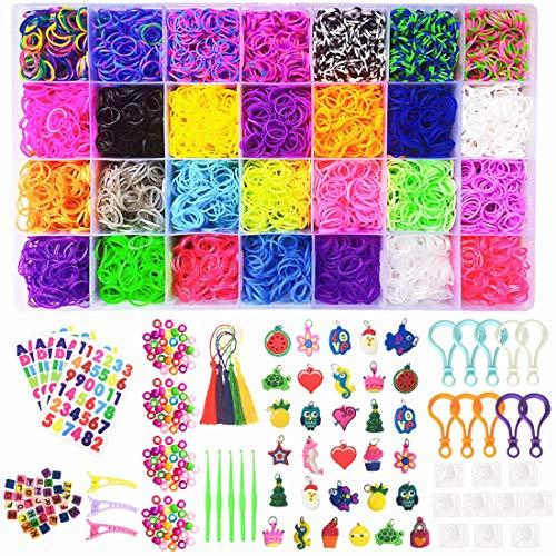 Loom Bänder Set,10,000 Premium-Qualität Gummibänder,600 S-Clips,175 Perlen,10 Rucksack Haken,5 Quasten, 30 Stück Charms, 5 Häkelnadeln,3 Haarspangen,3 Buchstaben Aufkleber,1 Nummer Aufkleber