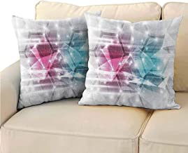 QIAOQIAOLO Pack of 2 Multifunctional Pillowcase Modern Decor Easy to Care 14x14 inch Modern with Geometric Cuts with Spot Like Lights Image Hot Pink Sky Blue and Cream
