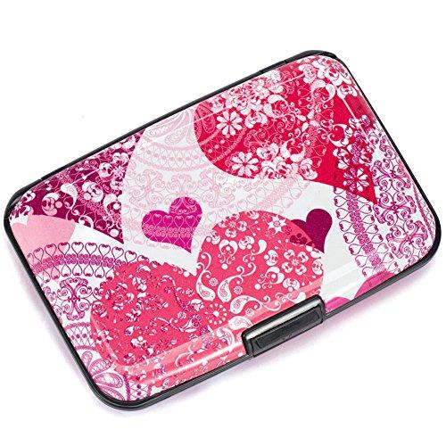 Elfish Mini RFID Aluminum Wallet Credit Cards Holder Business Card Case Metal ID Case for Men Women (heart)
