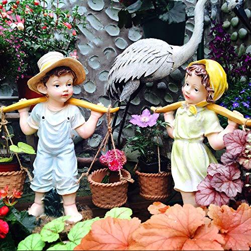erddcbb Escultura de decoración de jardín, Figuras de Adorno de Paisaje de jardín al Aire Libre, niño y niña recogiendo una Cesta de Flores