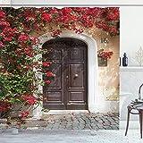 ABAKUHAUS marroquí Cortina de Baño, Puerta Vieja con Las Flores, Material Resistente al Agua Durable Estampa Digital, 175 x 220 cm, Multicolor