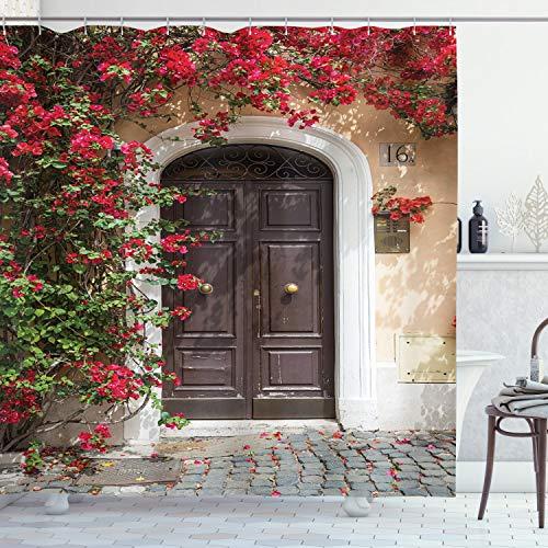 ABAKUHAUS Marokkaans Douchegordijn, Oude deur met bloemen, stoffen badkamerdecoratieset met haakjes, 175 x 240 cm, Veelkleurig