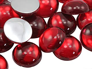 25mm Red Ruby H103 Flat Back Acrylic Round Cabochon High Quality Pro Grade - 12 Pieces