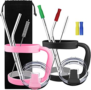 2 Pack 30oz Tumbler Handles Accessories, DanziX Mug Handle or Cup Holder Replacement+2 Tumbler Lids + 4 Stainless Steel Straws + 4 Silicone Tip Covers +2 Brushes, Totally 15 pcs- Black, Pink