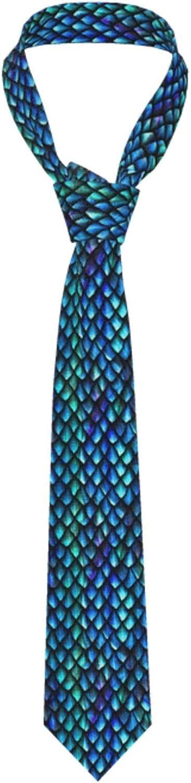 Azure Blue Dragon Scales Mens Necktie Classic Formal Neckwear Neck Skinny Ties